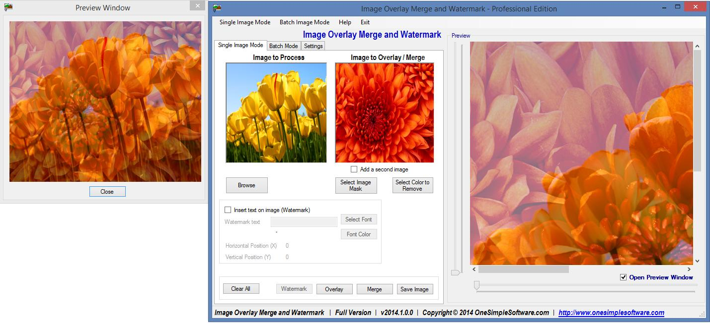 Click to view Image overlay merge and watermark Pro 2012.2.0.0 screenshot
