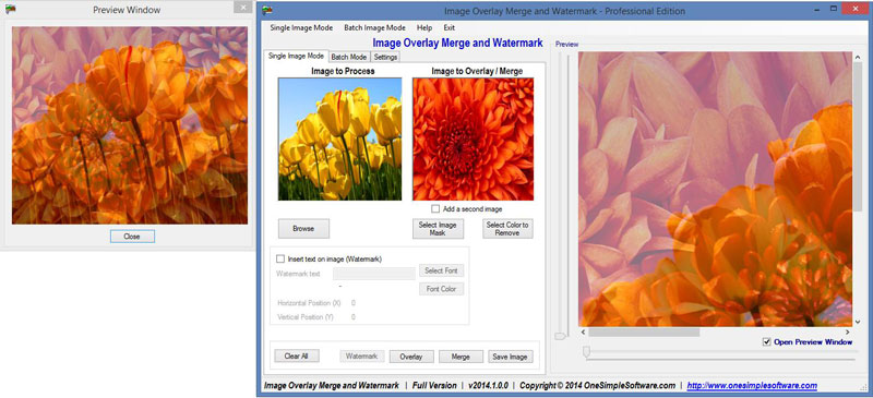 Click to view Image overlay merge and watermark Pro screenshots
